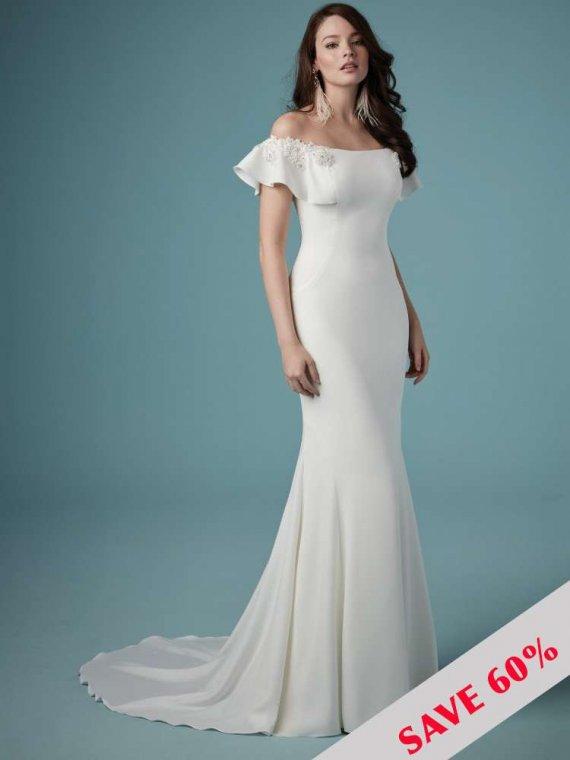 maggie sottero off the shoulder bardot wedding dress sale sussex crawley london brighton surrey kent