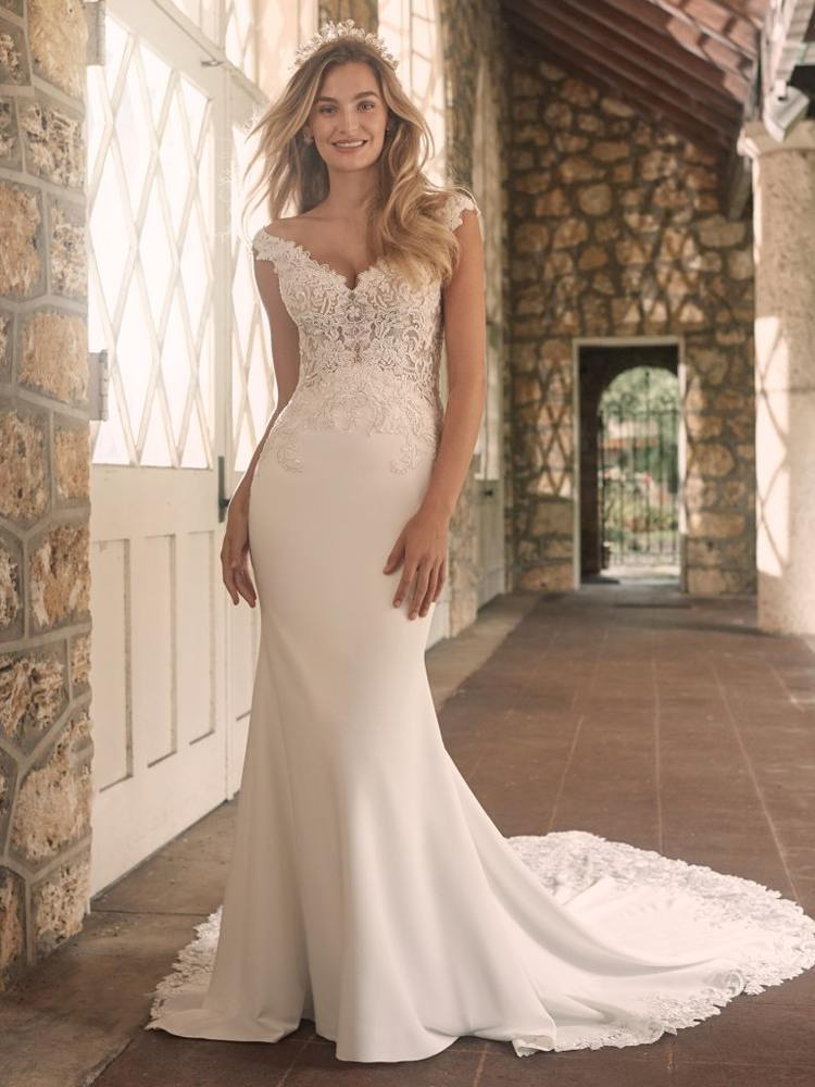 Maggie Sottero Antonella lace off the shoulder wedding dress sussex shop