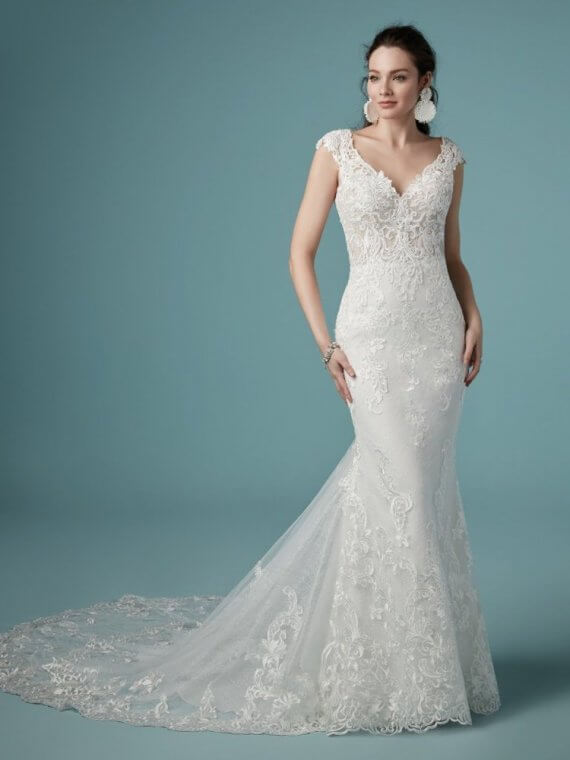 cheap discounted sample sale wedding dress maggie sottero cleleste