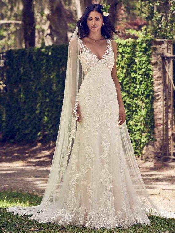 Maggie Sottero charlotte lace edge veil chapel length sale