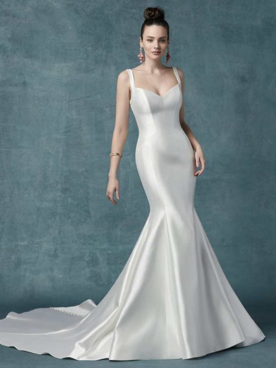 Maggie Sottero Teagan satin chic wedding dress sale sussex