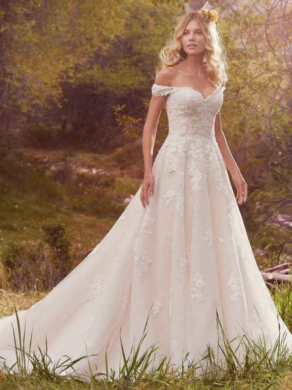 Maggie Sottero Saffron sample dress sale lace