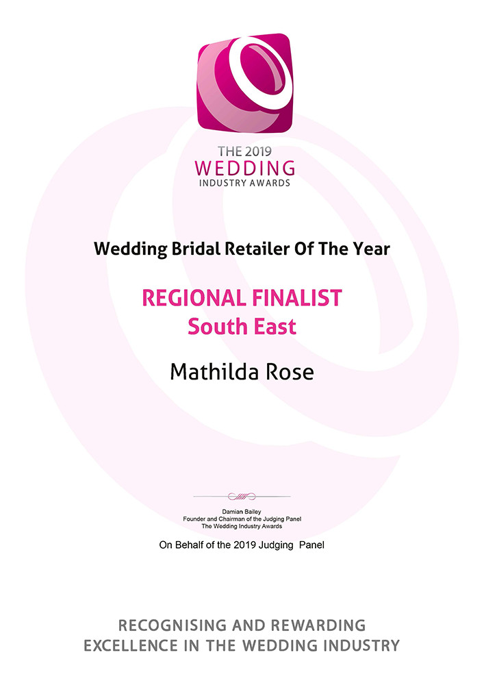 wedding industry award regional finalist best bridal boutique