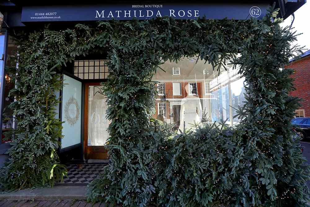 Christmas window display #thewindowat62 bridal boutique