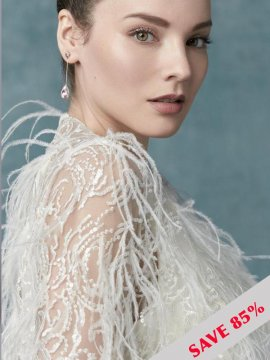 "Maggie Sottero ""Claudia Dawn"" Feather Jacket"