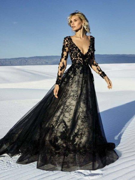 lace black gothic wedding dress