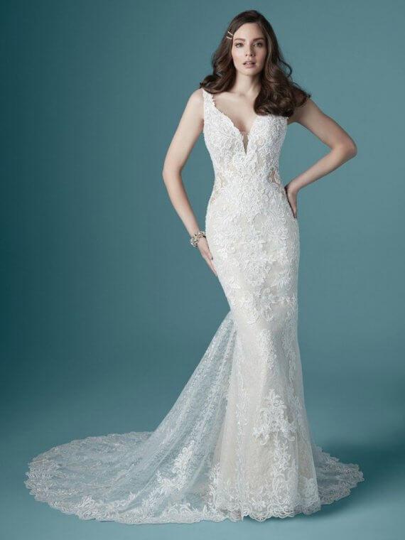 maggie sottero cheap sample sale lace wedding dress delilah