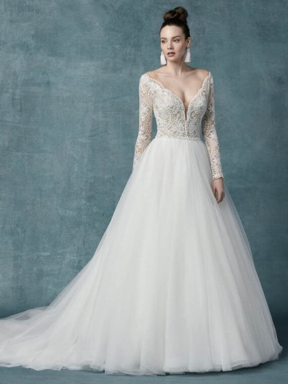 Mallory dawn cheap discounted wedding dress sample sale