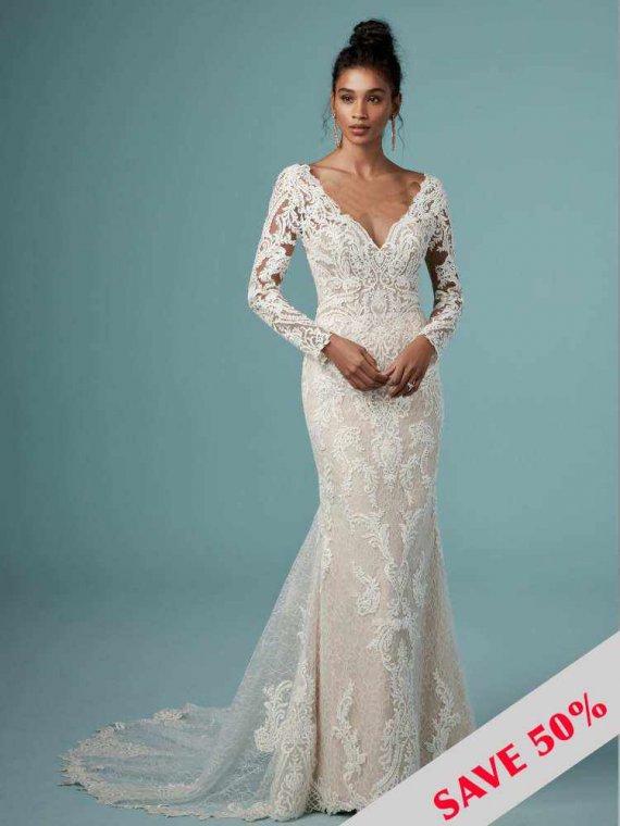 lace sleeve wedding dress sample sale